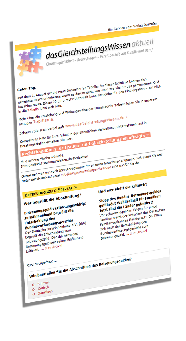 Online-Angebote – Newsletter – Gleichstellung online | Verlag Dashöfer