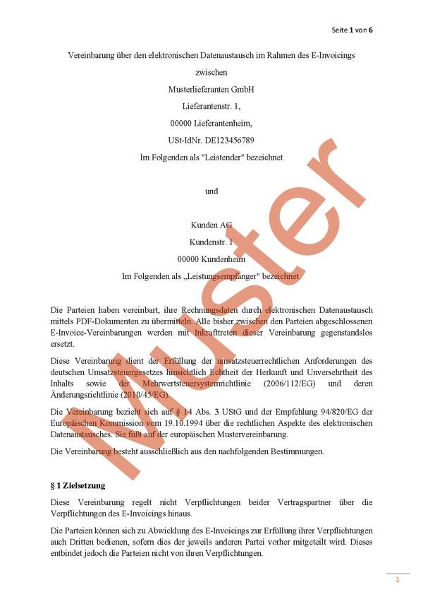 Mustervereinbarung über den elektronischen Datenaustausch im Rahmen des E-Invoicings