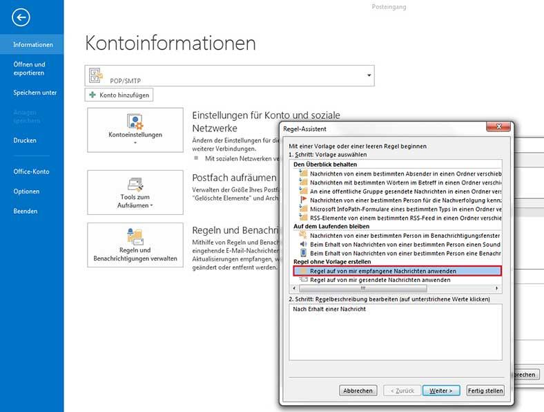 Abwesenheitsnotiz in Outlook 2013 einrichten - Schritt 2