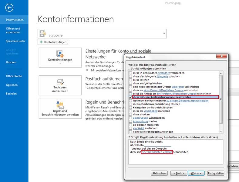 Abwesenheitsnotiz in Outlook 2013 einrichten - Schritt 4