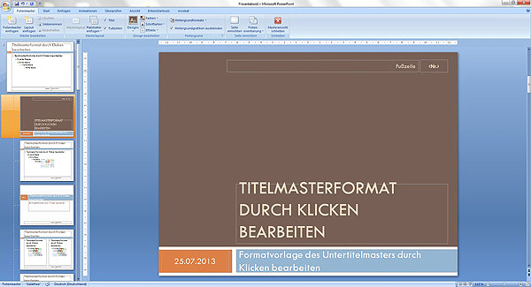 PowerPoint Menü: Der Folienmaster