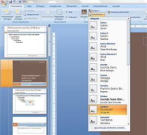 PowerPoint: Im Menü werden verschiedene Schriftarten zur Auswahl angezeigt