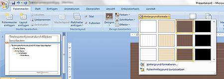 PowerPoint: Varianten von Hintergrundformaten werden angezeigt