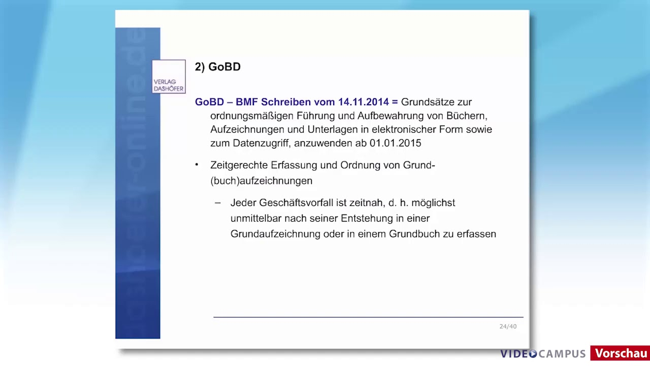 Video zum Thema GOBD