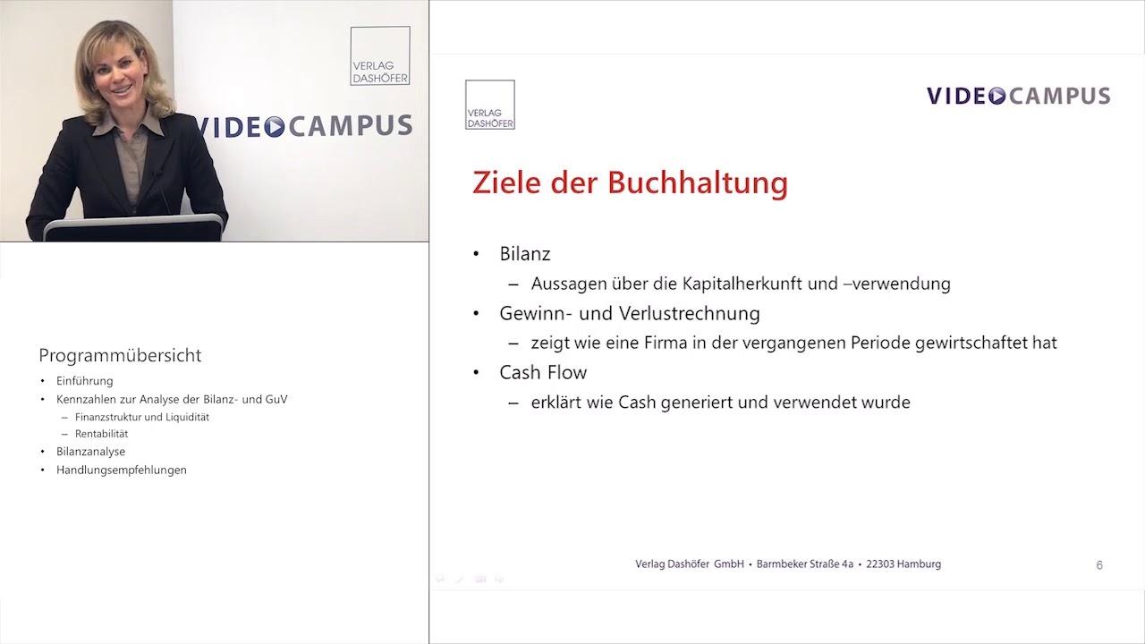Video zum Thema Bilanzanalyse: Ziele der Buchhaltung und Bilanzaufbau