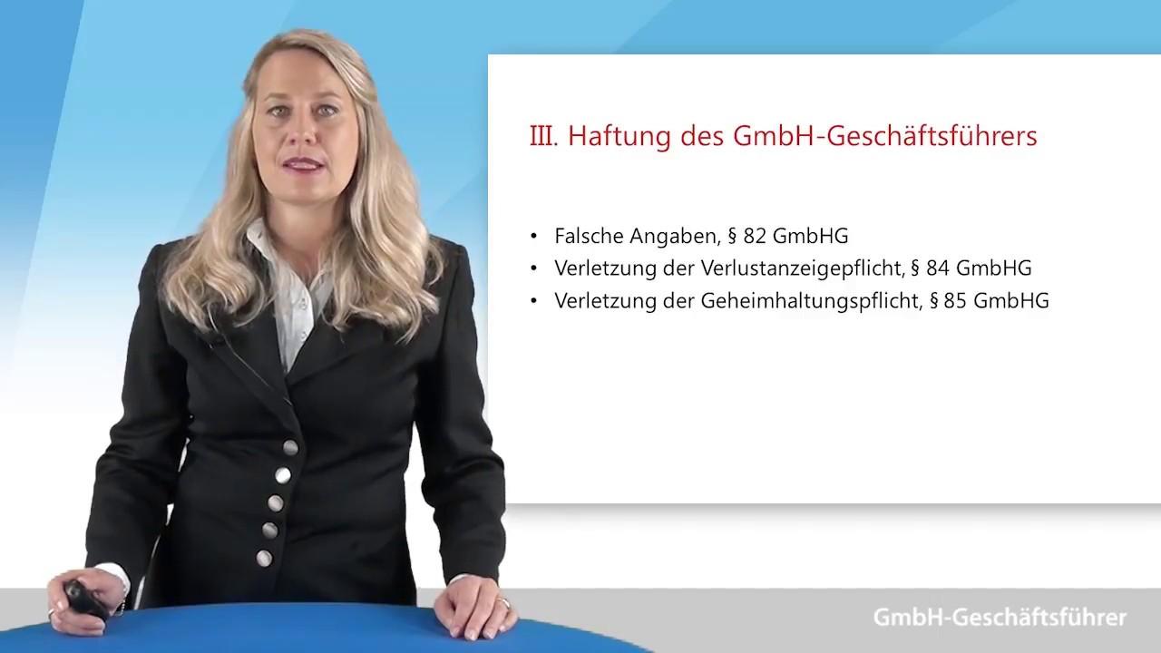 Video zum Thema Haftung des Geschäftsführers